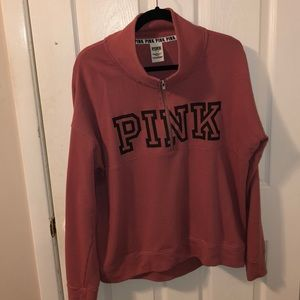PINK 3/4 zip sweater size Large